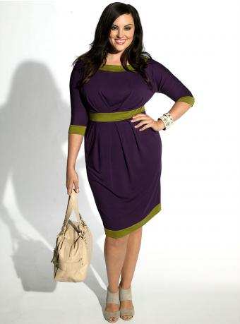 Marie Color Block Dress in Purple by IGIGI