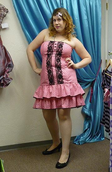 MISS ALPHABET hot pink_black polka dot drop waist skirt 2X