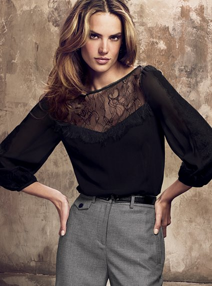 Silk lace-insert Blouse