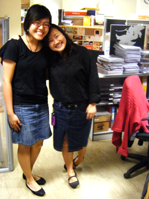 Genevieve and Echo rocking the black blouses, denim skirts & black flats