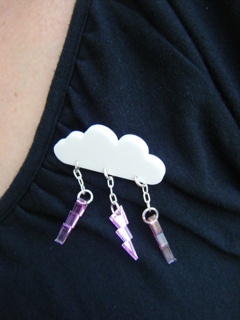 Lightning cloud brooch from MADE BY WHITE