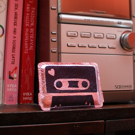Geek Love - Pink and Navy Cassette Tape Card Holder