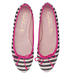 Marilyn - Stripey Leather with Pink Trim