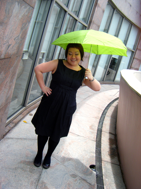 Breaking monotony with a Lime Green Umbrella!