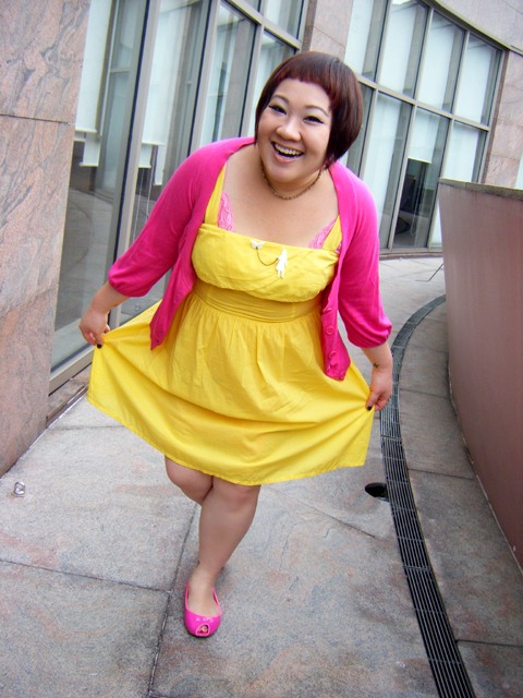 Yellow dress from ASOS, Pink cardy from WAREHOUSE