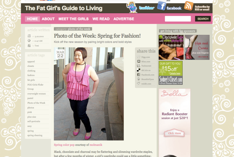 Fat Girl's Guide to Living - Photo of the Week March 22, 2010