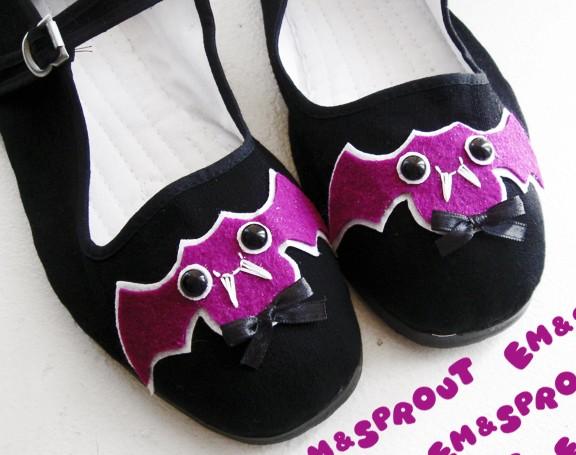 Purple Bat Mary Janes - Size 7