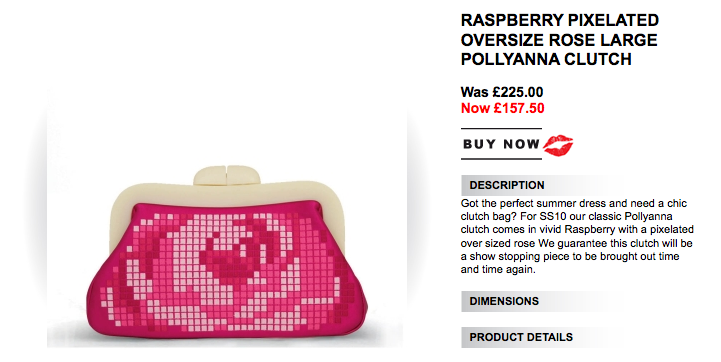 Raspberry Pixelated Oversize Rose Large Pollyanna Clutch