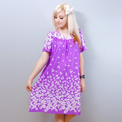 1970s Purple White Floral Print Tent Dress (from Shrinkle)