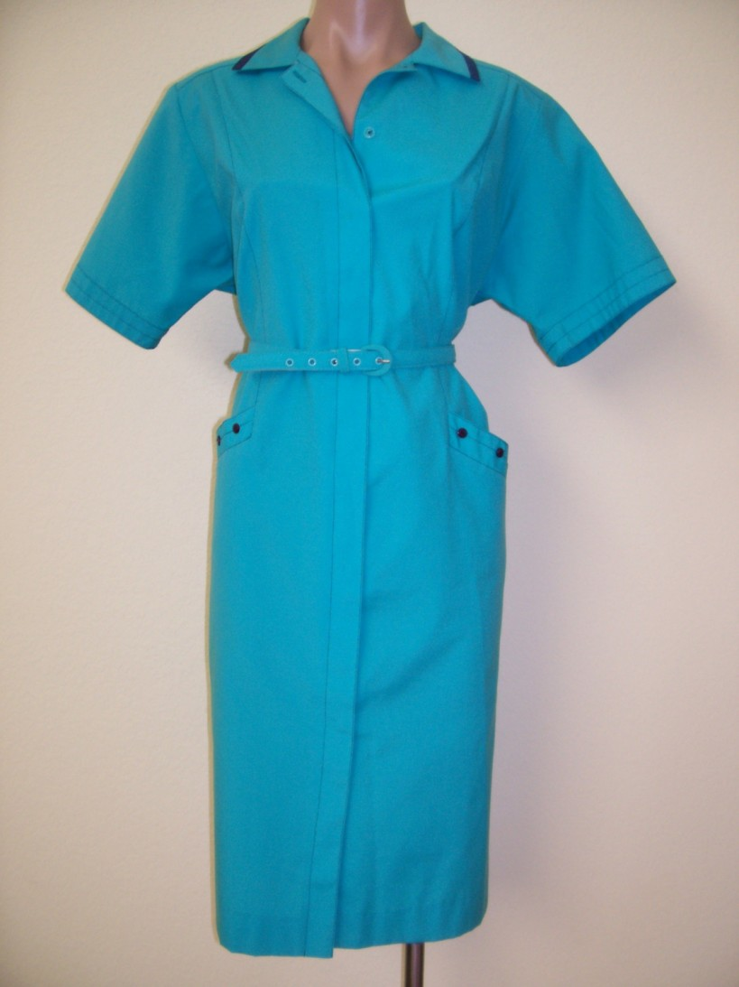 80's Turquoise Shirt Style Rockabilly Wiggle Dress XL