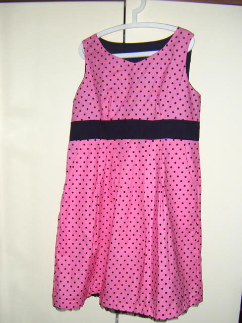 50s style Pink Polka Dotted Empire Waist Dress