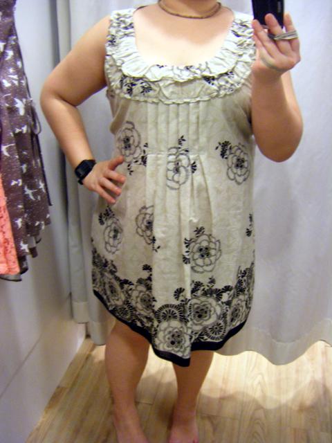 DP Taupe & black print tunic top worn as a short dress