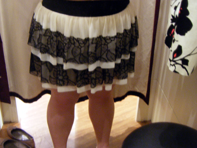 MISS SELFRIDGE Black/Beige Lace Frilly skirt (S$79)