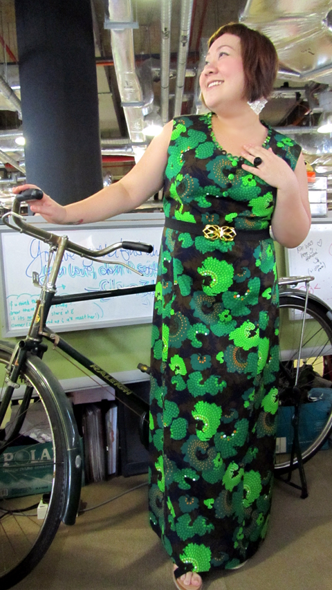 Standing in front of Pearlyn's prop bicycle for a show she did last week