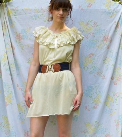 Lemon Meringue Nightie with Ruffles Tent Dress (from BeckyPlantsTrees)