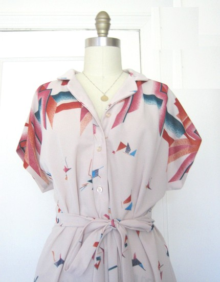 Vintage beige geometric shapes dress (from alloverthepalace)