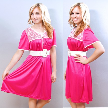 Vintage Hot Pink Nightie w White Lace (from Shrinkle)