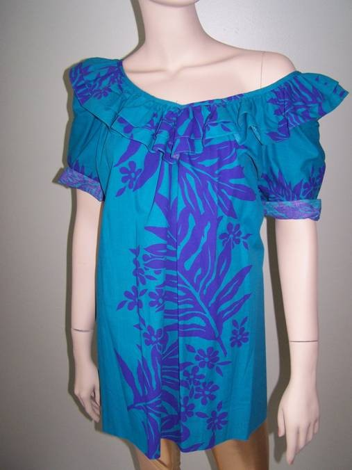 Vintage Mexican Style Tent Dress. Bold Tropical Floral Print. Ruffle Neck. XL. 2XL