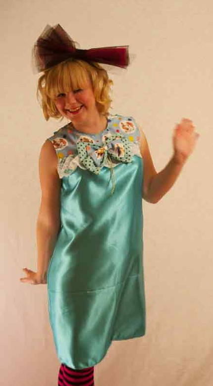 Vintage-style teal satin babydoll lolita bow lace dress (from PinkZombies)