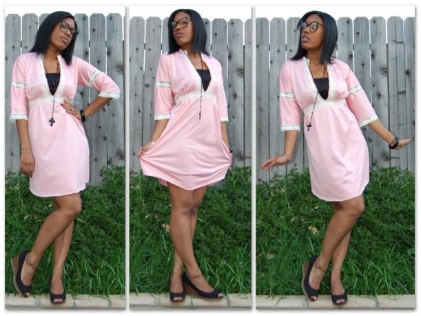 Vtg 70s Pink DISCO Glam LACE Mini SHINY GOGO Dress L XL