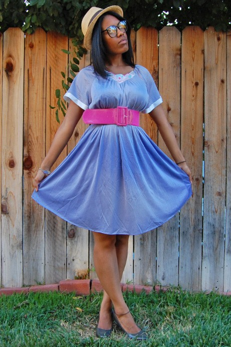 Vtg 70s Purple Floral Shiny Mini Night Gown Dress M L