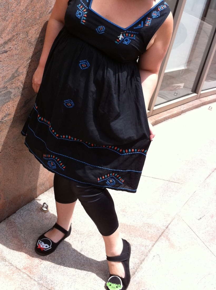 Close-up of my TOPSHOP dress & etsy shoes