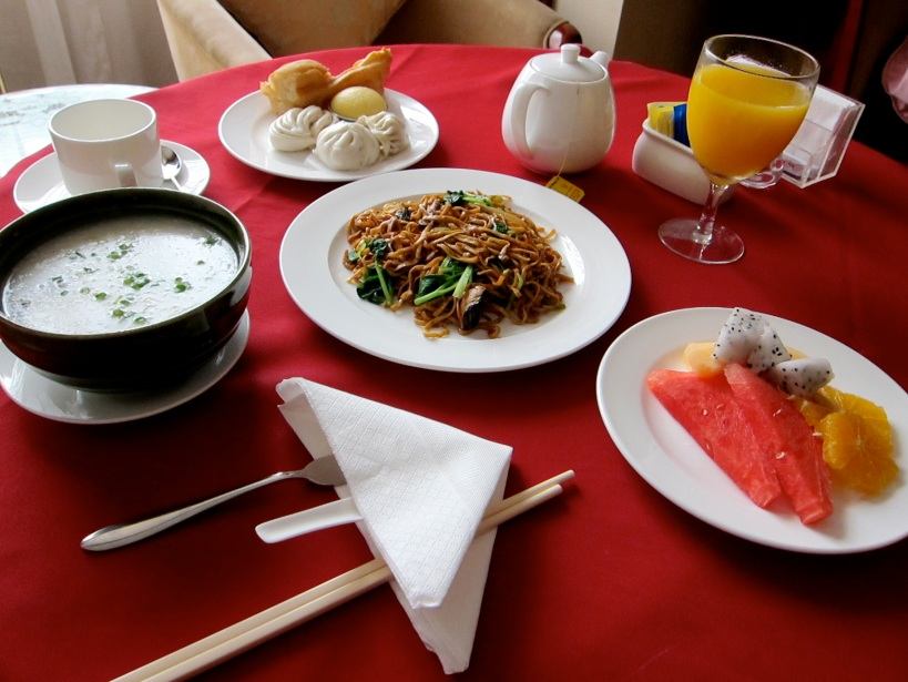 Our first meal in Beijing is... room service. We were too tired