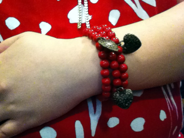 3 strands of red beaded bracelets with copper heart charms from COTTON ON/Rubi Shoes