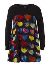 Heart Print Hanki Hem Top - Bright Multi