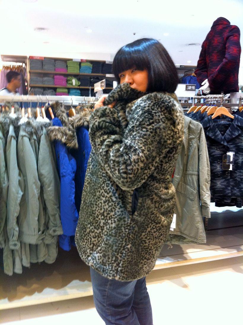 Shu Lee, modelling the latest in faux furs