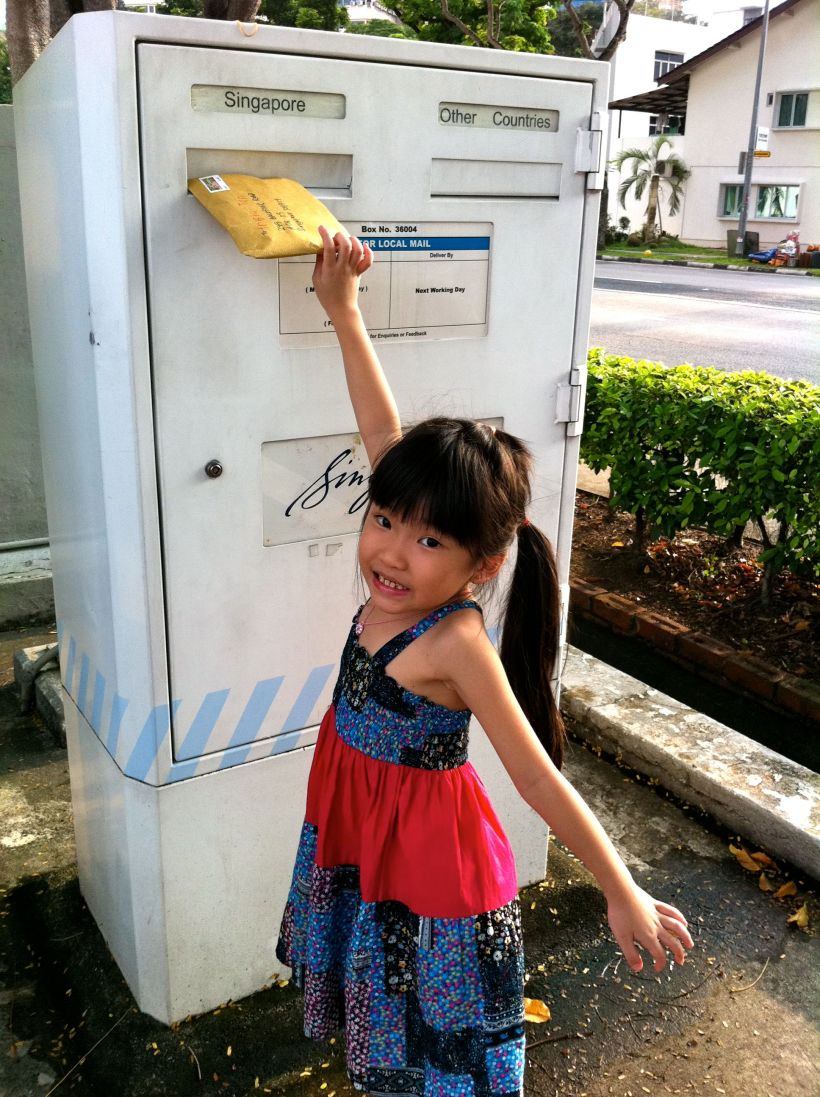 Yay! Milestone! Her first mail posted!