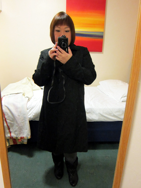 Black button-down coat from NEXT & Boots from SCHU