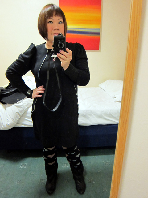 ATMOSPHERE (Primark) dress. TOPSHOP leggings. SCHU boots.