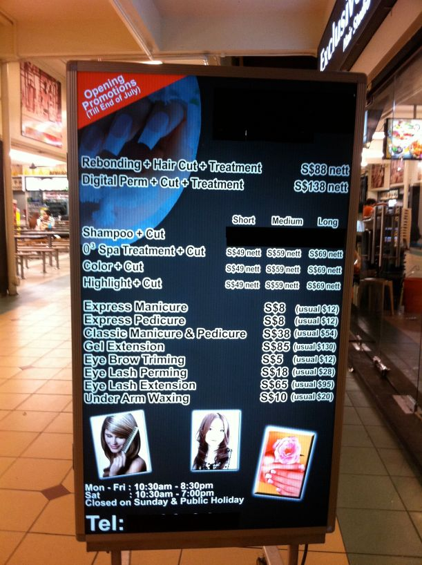 Exclusive Hair Salon price list