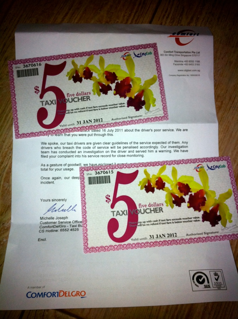 Comfort Taxi gift certificates