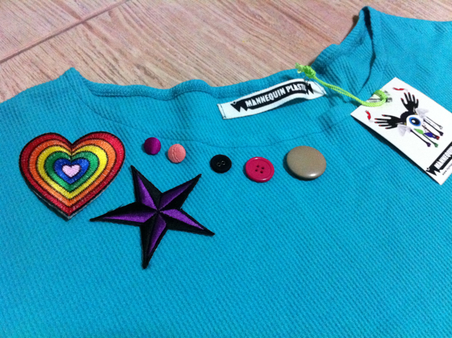 Patches and buttons around the collar.