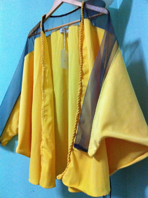 Dramatic gold cape/cloak thing from UNLABEL clothing