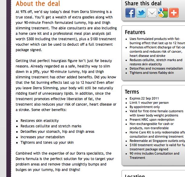Screen capture of the VoucherWow copy. Liars!