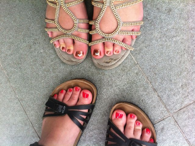 Pedicures!! Look at the awesome bears on Teresa's toes!