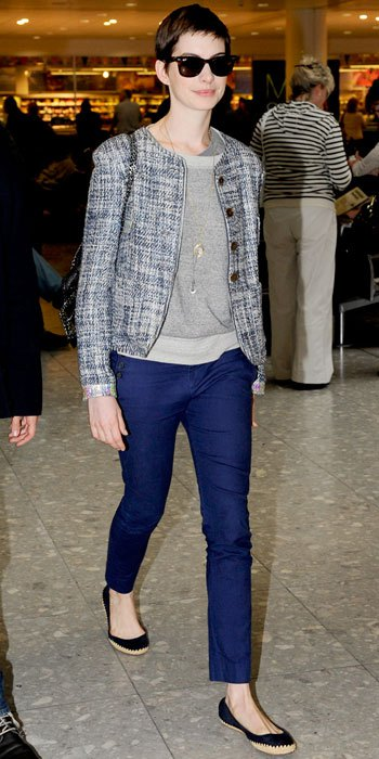 anne-hathaway-in-a-tweed-jacket-by-theyskens-theory-layered-necklaces-skinny-trousers-black-flats-by-tory-burch